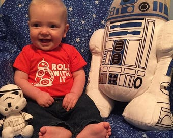 Roll with it infant bodysuit. Robot baby clothes.