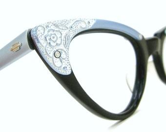 Vintage Cat Eye Eyeglasses Frame Decorative Flowers Beautiful Art Craft