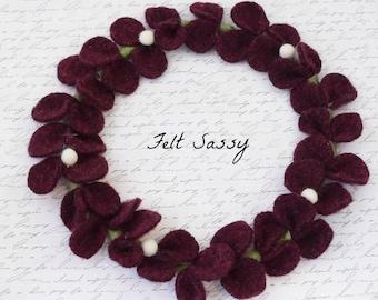Wire Wreath - Wine - Recycled Wool Sweaters - Felt Sassy