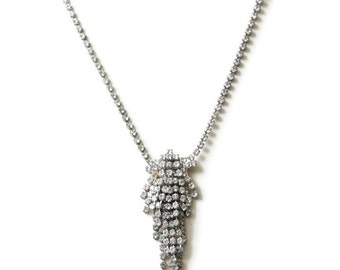 Clear Rhinestone Waterfall Pendant Necklace Vintage