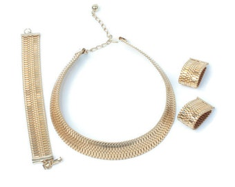Gold Mesh Woven Necklace Bracelet Earrings Set Parure Vintage
