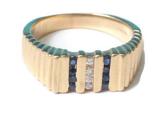 Sapphire and Diamond Ring 14K Gold Modernist Design Size 6.25