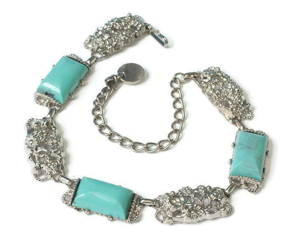 Turquoise Lucite Silver Tone Necklace Choker Chunky Vintage