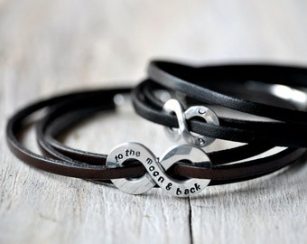 Couple of Personalized Infinity Bracelets, TWO, one regular and one XL charm, leather and aluminium, anniversary gift, leather anniversary