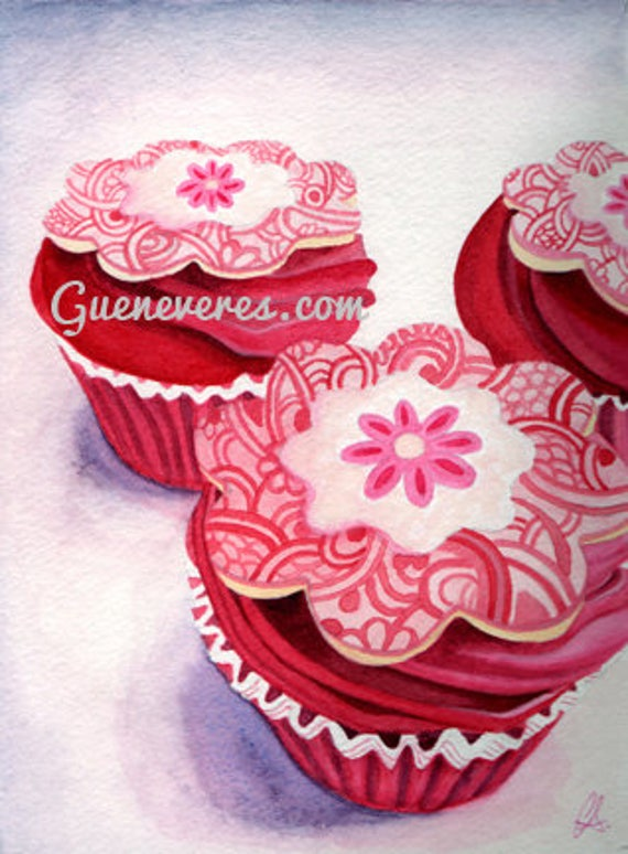 Pink Tripple Cupcake watercolor original painting