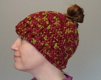 Chartreuse and berries bun hat winter hat