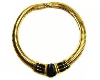 1980s Gold Plated Omega Flex Collar with Black Enamel Centerpiece Geometric Centerpiece Vintage Necklace Choker