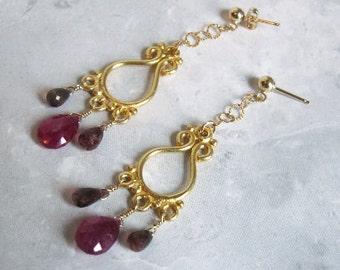 Pink Sapphire Earrings- Tourmaline, Gold Filled, Chandelier