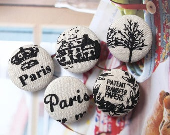 Retro Black French Style Country House Village Tree Crown Script Paris-Handmade Fabric Covered Buttons(1.1 Inches, 5PCS)