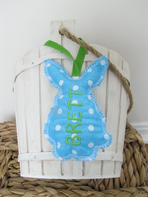 Easter Basket Name Tag Personalized Embroidered Bunny Rabbit Stand