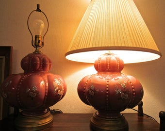 Vintage Mid Century Fenton Style Hobnail Pink Melon Glass Floral Lamps - Hollywood Regency Classy Large Pink Glass Lamps