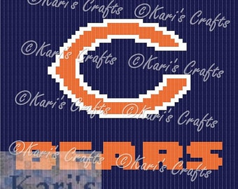 Chicago Bears C2C Afghan PDF Pattern Graph + Written Instructions - Instant Download