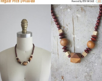 CLEARANCE. 1970s wooden bead necklace