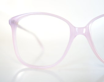 1980s Wayfarer Pink Pastel Eyeglasses Glasses Womens Nerdy Geek Chic Preppy Honeysuckle Light Clear Translucent Transparent 80s Oversized