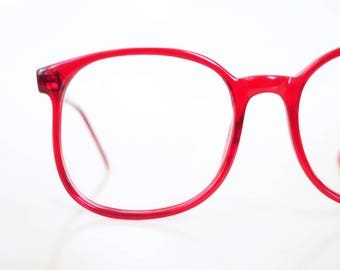 Cherry Red 1970s Round Glasses Deadstock Vintage 70s Bright Crimson Eyeglasses Ladies Womens Girls Bright Cherry Retro NOS New Old Stock
