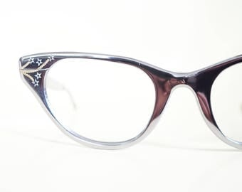 Vintage 1950s Tura Cat Eye Eyeglasses Sunglasses Womens Glasses Shiny Silver Star Hollywood Glamour 50s Fifties Cateye Pin Up Sexy