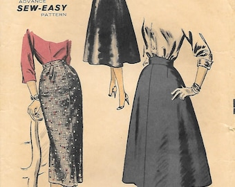Advance 7799 1950s Skirts Gored and Fitted Vintage Sewing Pattern Waist 26 Wiggle Skirt Mad Men Flared Sew Easy