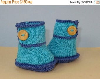 50% OFF SALE Instant Digital File pdf download knitting pattern - Baby One Button Bumper Booties pdf download knitting pattern