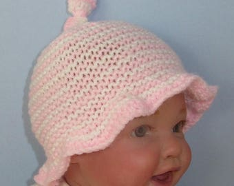 50% OFF SALE Knitting Pattern Digital pdf download - Baby Simple Stripe Sunhat knitting pattern