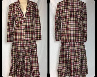 1970s or 80s Pendleton Two Piece Suit in Camel, Brick Red, Black and White Plaid  - Size 12 Petite