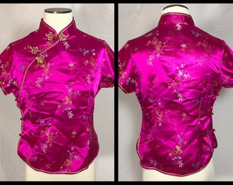 Traditional Chinese Satin Jacquard Top with Mandarin Collar and Frog Closures - Size (juniors) XL