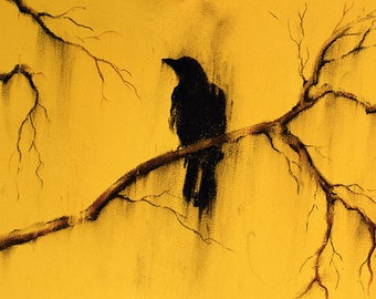 Original Charcoal Crow Drawing Black and White Bird on a Branch Drawing 12x8""