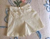 Vintage 1950s 1940s Womens Shorts JANTZEN Sun Clothes White Corduroy Mid Century Small