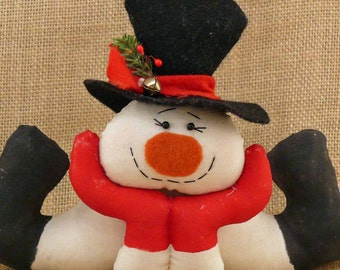Handmade Snowman Shelf Sitter Thinking About Snow