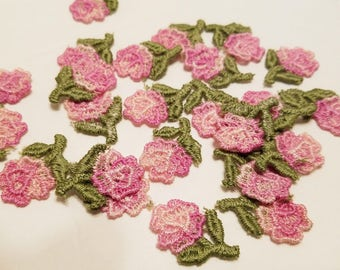 """24 Pink single stem Rose embroidered applique  1 1/8"""" tall"""