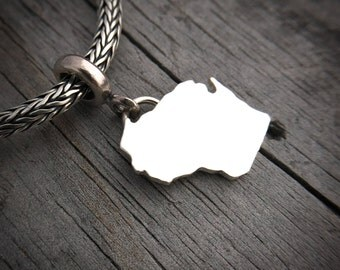 Sterling Silver State Of Wisconsin Charm Handmade Wild Prairie Silver Jewelry