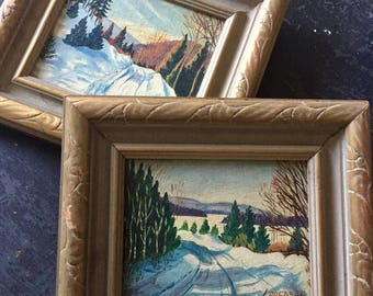 Antique Oil on Canvas board you get 2 paintings 1940s Dated and Signed.