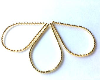Large gold teardrop with wire wrapping guides, twisted gold wire steel metal hoops, teardrop earring hoops and pendant, gold connector links