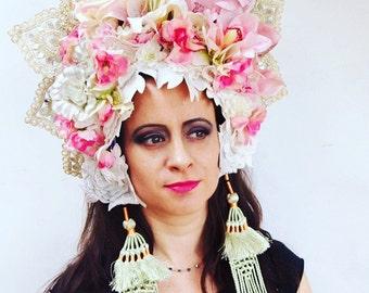 Oriental Style headdress Flowers Festival Carnival Pastels Temple Lace Gold