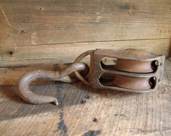 Vintage Heavy Metal Double Barn Pulley