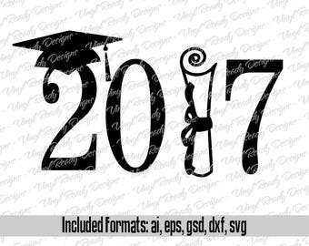Graduation Class of 2017 - Vector Art - Svg Eps Ai Gsd Dxf Download