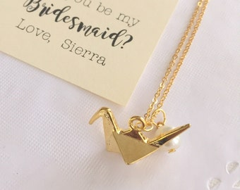 Origami crane charm necklace, ask Bridesmaid gift, bridesmaid jewelry, gold plated. FREE personalized notecard, jewelry box.
