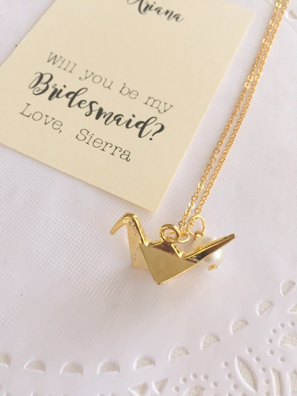 origami crane charm necklace ask bridesmaid gift bridesmaid