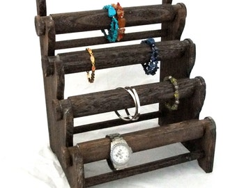 Rustic Coffee Four Tier Bracelet And Watch Storage/Display