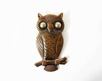 Vintage Owl Pendant in Solid Copper. Circa 1960's.