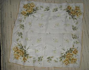 Vintage  Hankie Handkerchief - Yellow Roses  Pattern