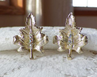 Vintage Signed Rhinestone Gold Tone Leaf / Leaves Clip On Earrings, AB / Aurora Borealis Rhinestones Accents, Nature / Natural / Forest