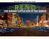 Vintage Nevada Postcard - Reno ... The Biggest Little City in the World (Unused)