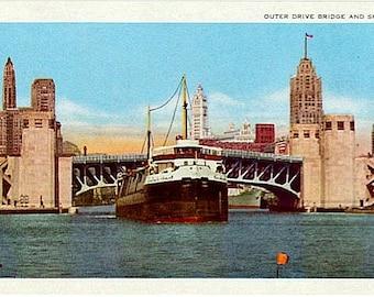 Vintage Chicago Postcard - Outer Drive Bridge and Chicago Tribune Boat (Unused)