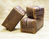 Groomsmen Gift Leather Toiletry Bag Personalized Leather Dopp Kit, Mens Toiletry Bag Shaving Kit Wedding Anniversary Gift