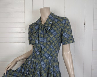 50s Bow Dress in Blue & Lime Green Ikat- 1950s Shirt Dress- Small