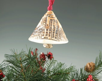 Christmas Bell - Handmade Holiday Ornament - Wind Chime - Tree Ornament - Ceramic Porcelain Bell - Christmas Decor - Home Decor - 233