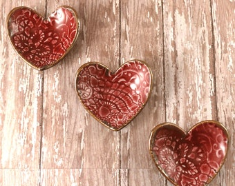 THREE Ceramic Ring Dishes, Red Pottery Heart Trinket Dish, Decorative Pottery Dish, Ring Holder, Gift For Her, Porcelain Pottery