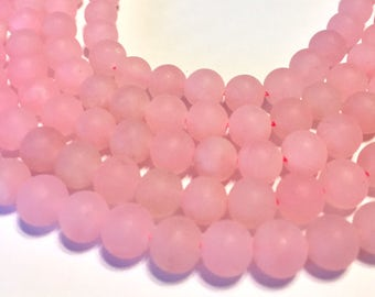 Frosted rose quartz 8mm round beads whole 15 inch strand