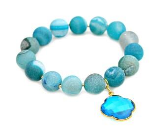 Blue Agate Druzy Beaded Bracelet Blue Apetite Bezel Gold Charm Jewel Tone Aqua Turquoise Sky Blue Country Boho Chic Style by Mei Faith