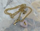 Vintage Avon Key to my Heart Necklace 1975 Classic Design Mauve Alabaster Heart Signed Avon Necklace